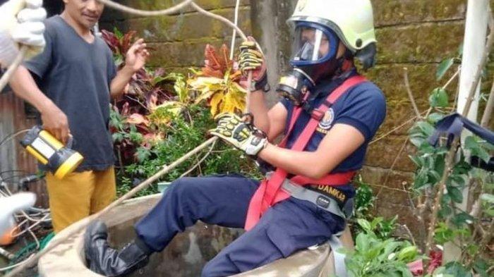 Masuk ke Sumur 16 Meter, Petugas Damkar dan Kebencanaan Salatiga Berhasil Selamatkan Kucing Warga
