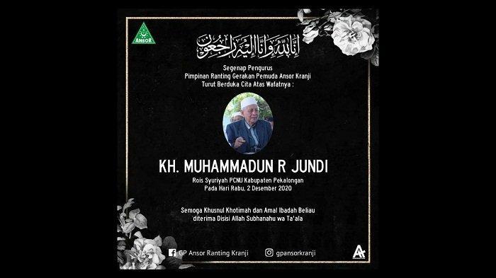 Innalillahi, Rois Syuriyah PCNU Kabupaten Pekalongan KH Muhammadun R Jundi Tutup Usia