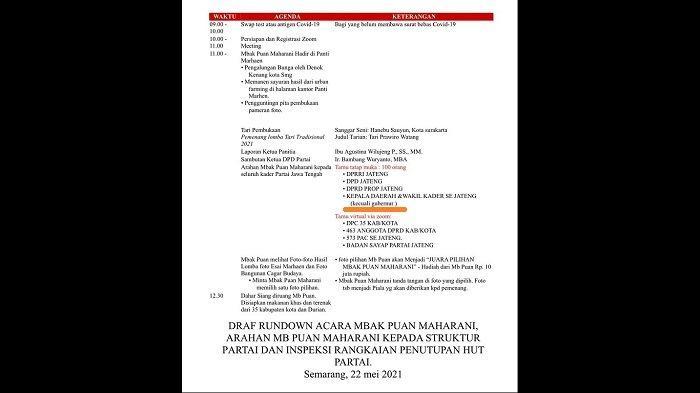 Rundown acara puncak kegiatan HUT ke-48 PDI Perjuangan di Panti Marhain, kantor DPD PDI Perjuangan Jawa Tengah, di Kota Semarang. Dalam rundown tersebut tertulis jelas kehadiran ganjar dikecualikan meski undangan tersebut ditujukan bagi seluruh kepala daerah dan wakil kepala daerah dari PDIP di Jateng.