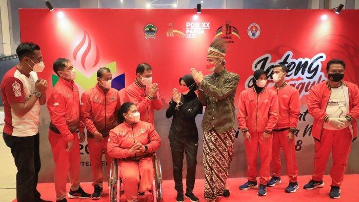 Siti Mahmudah bersama Ganjar Pranowo saat menghadiri peringatan Hari Olahraga Nasional 2021, Kamis (9/9/2021) di Kabupaten Semarang