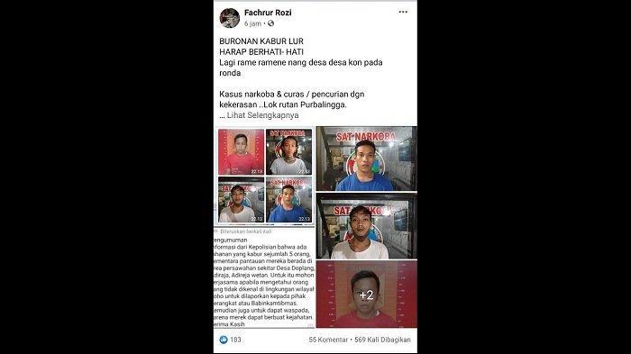 Lima Tahanan Polres Purbalingga Dikabarkan Kabur, Terlibat Kasus Narkoba dan Pencurian