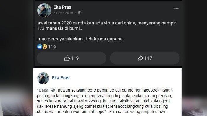 Viral Status Facebook Meramalkan Virus Corona Di Indonesia Pada Tahun 2016 Polisi Periksa Pemosting Tribun Banyumas