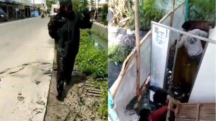 VIRAL Warung Makan Ambruk, Pengunjung yang Asyik Makan Nyebur Got, Video Diserbu Netizen: Kena Azab