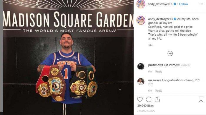 Sempat Jatuh, Andy Ruiz Ungkap Cara Bangkit dan Pukul KO Anthony Joshua, Ukir Sejarah Tinju Dunia