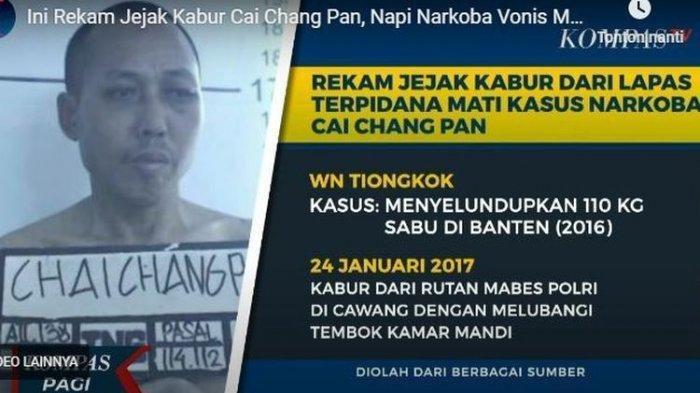 Terpidana hukuman mati dalam kasus narkoba, Cai Changpan kabur dari sel tahanan Lapas Kelas I Tangerang dengan cara membuat gorong-gorong.