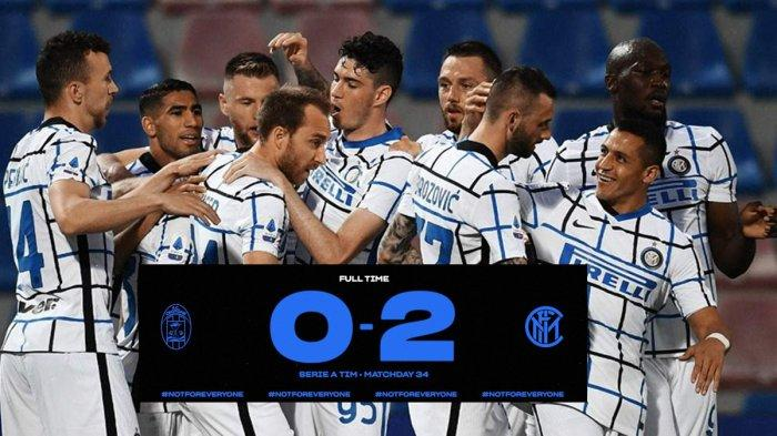 Hasil Crotone vs Inter Milan - Christian Eriksen & Achraf Hakimi Cetak Gol, Inter Milan Menang