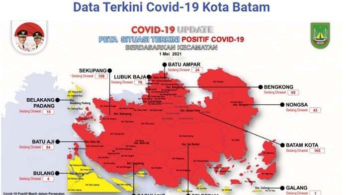 Sebaran zona Covid-19 di Batam per kecamatan, Sabtu (1/5/2021)