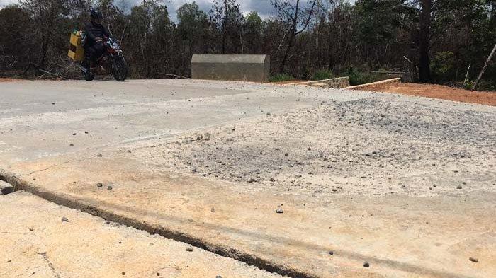 Gorong-gorong di Jalan Desa Lancang Kuning, Kecamatan Bintan Utara yang dibangun di tahun 2020 lalu sudah mulai rusak.