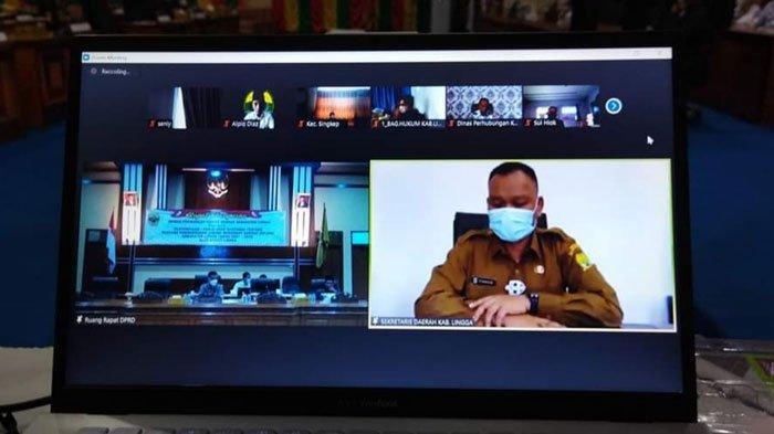 Sekda Lingga Syamsudi Hadiri Rapat Paripurna DPRD Mewakili Bupati secara Virtual
