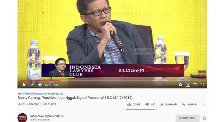 Rocky Gerung is Back ! Kritik Keras Jokowi soal Pancasila di ILC Tema Izin FPI