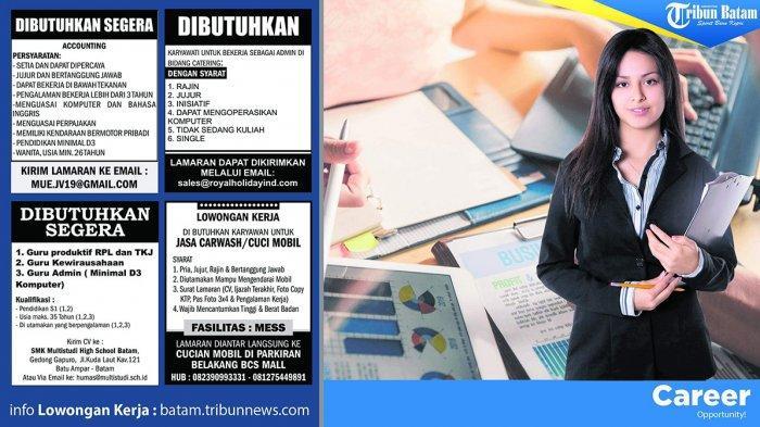 LOKER BATAM HARI INI - Guru hingga Accounting, Cek Lowongan Kerja di Batam Hari Ini, Kamis (5/9)