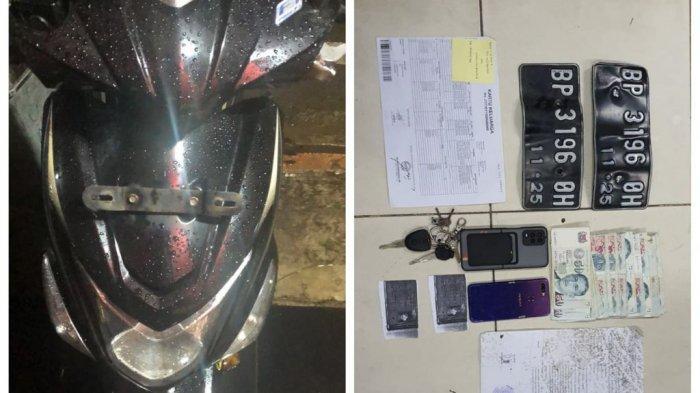 Barang bukti penggelapan uang dengan modus pura-pura dijambret di Batam diamankan polisi.