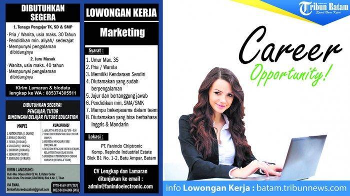 Marketing hingga Pengajar, Cek Info Lowongan Kerja di Batam, Rabu (6/11)