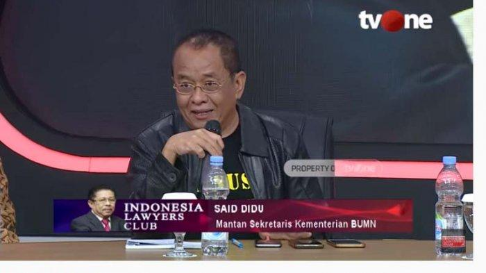Di ILC, Said Didu Singgung UU ITE: Kalau Tak Mau Dikritik Jangan jadi Pejabat Publik