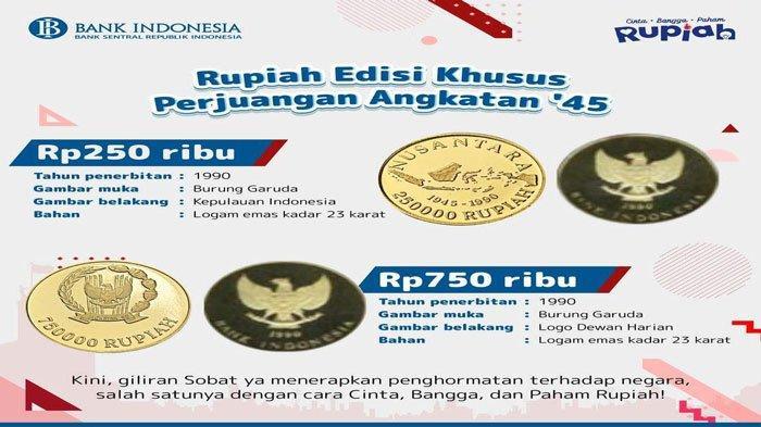 Rupiah Edisi Khusus Perjuangan Angkatan '45 Berbahan Emas, Lebih Besar dari Uang Koin Kelapa Sawit
