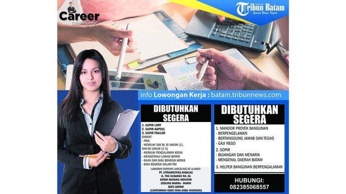 LOKER BATAM HARI INI - Lowongan Kerja Dibuka di Batam, Rabu (11/9), Cek Posisi dan Syarat di Sini