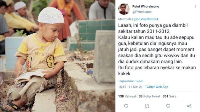 Foto Bocah Berwajah Pilu Duduk di Samping Pusara Viral, Pemilik Foto Ungkap Kisah Balada