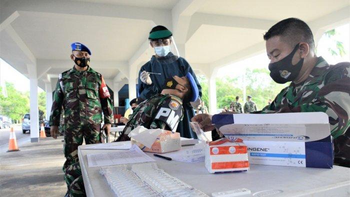 Prajurit dan PNS Lantamal lV Tanjungpinang Jalani Rapid Test Antigen