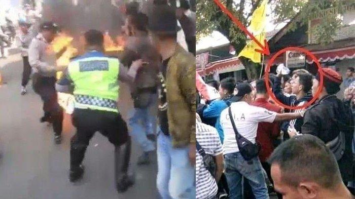 Saat Amankan Demo,3 Polisi Terbakar Hidup-hidup,Aksi Pelaku Penyiram Bensin Terekam