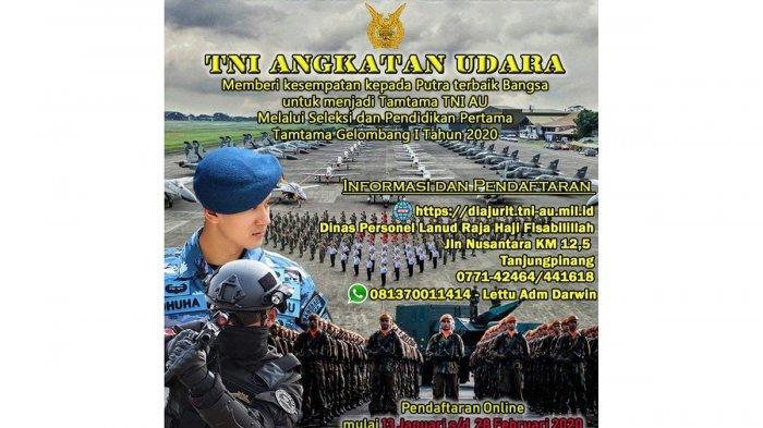 TNI AU Buka Pendaftaran Tamtama, Catat Syarat dan Cara Mendaftarnya