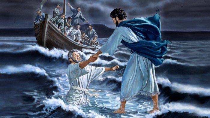 ILUSTRASI - Yesus menyelamatkan Petrus yang terjebur ke dalam laut 2