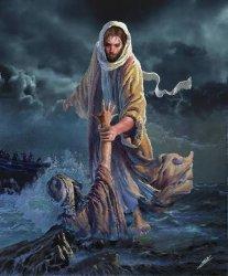 ILUSTRASI - Yesus menyelamatkan Petrus yang terjebur ke dalam laut.