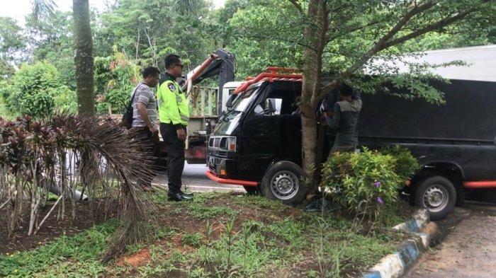 Hindari Pengendara Motor, Sopir Pikap Banting Stir hingga Tabrak Pohon di Jalan Lintas Barat Bintan
