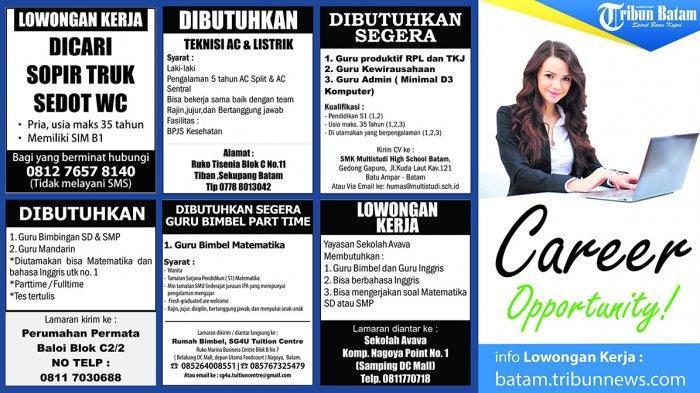 LOKER BATAM HARI INI - Butuh Pekerjaa di Batam? Cek Sejumlah Lowongan Kerja Berikut Ini