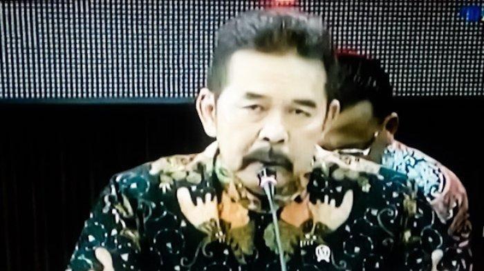 Jaksa Agung, ST Burhanuddin saat konferensi pers terkait kasus korupsi