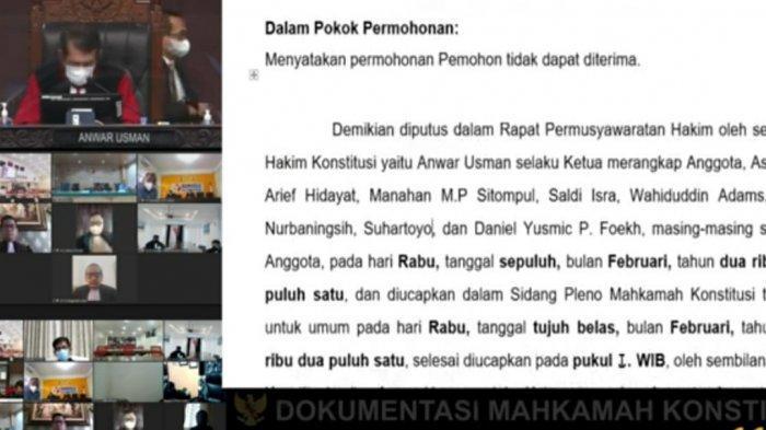 Mahkamah Konstitusi RI dalam persidangan sengketa Pilkada menyatakan tidak menerima atau menolak gugatan Paslon walikota Batam, Lukita Dinarsyah Tuwo -Abdul Basyid.