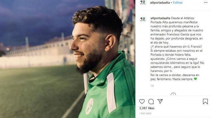 Pelatih Sepakbola Spanyol Francisco Garcia Meninggal di Usia 21 Tahun Akibat Terinfeksi Virus Corona