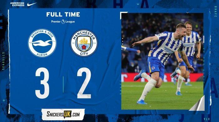 Hasil Brighton vs Man City, Joao Cancelo Kartu Merah, Sempat Unggul 2-0, Manchester City Kalah