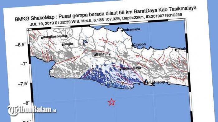 GEMPA HARI INI, Gempa 4.5 SR Guncang Tasikmalaya Jumat (19/7) Jam 01.22 WIB, Berikut Info BMKG