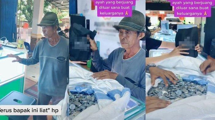 Seorang Kakek Bawa Sekarung Uang Receh, Berniat Beli HP Buat Anak dan Cucu