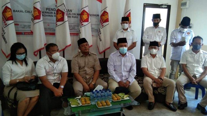 Sejumlah pengurus inti DPD dan DPC Partai Gerindra saat melakukan pertemuan dalam penyampaian nama rekomendasi calon Wakil Wali Kota Tanjungpinang, Senin (22/2/2021)