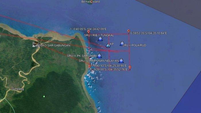 Lokasi tenggelamnya KM Wicly Jaya Sakti di perairan Jambi, Sabtu (22/5/2021)
