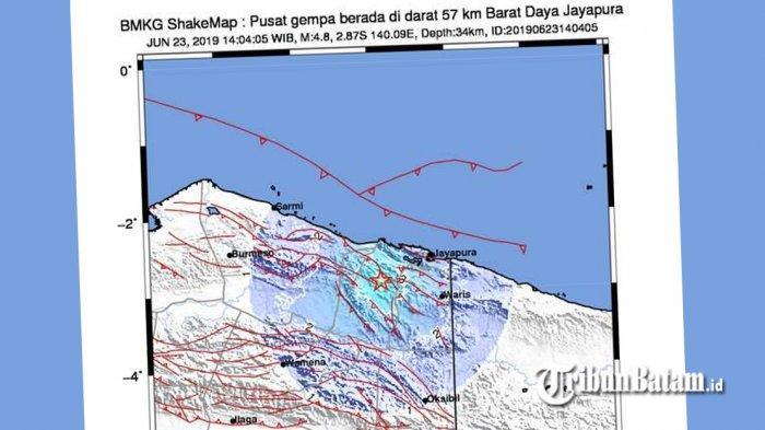GEMPA HARI INI, Gempa 4.8 SR Gucang Jayapura Papua Minggu Jam 14.04 WIB, Berikut Info BMKG