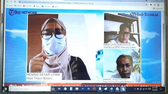 Wakil Ketua I DPRD Natuna, Daeng Ganda Rahmatullah dan Plt. Kadinkes Natuna Hikmat Aliansyah saat dialog di program News Webilog Tribunbatam.id, Rabu (21/7/2021)