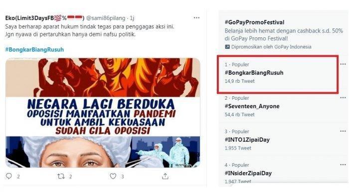 #Bongkarbiangrusuh trending topic menyusul aksi demo mahasiswa tolak PPKM di sejumlah kota. Aksi demo berhasil diredam, kini giliran netizen minta polisi bongkar dalang demo karena diduga sudah tak murni demo.