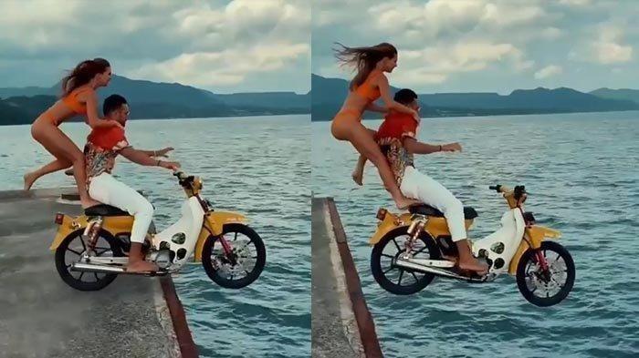 Aksi wisatawan mancanegera (wisman) yang menceburkan diri ke laut dengan sepeda motornya viral di media sosial (medsos). Selebgram Yang Terjun ke Laut di Bali Bareng Kekasih, Ternyata Bukan Orang Sembarangan di Rusia