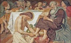 ILUSTRASI - Yesus basuh kaki para murid.