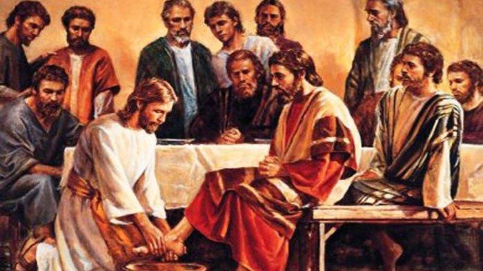 LUKISAN - Malam perjamuan terakhir antara Yesus dan para murid-Nya. Yesus basuh kaki para murid.