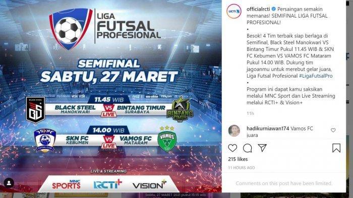 Live Streaming Futsal Hari Ini Semifinal PFL 2020 di RCTI Plus Mulai Pukul 11.45 WIB