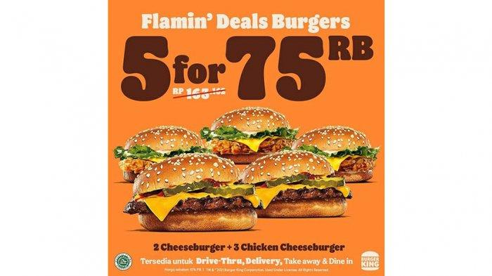Promo Burger King, Tawarkan Flamin' Deals Burger Seharga Rp 75 Ribu hingga Akhir Maret