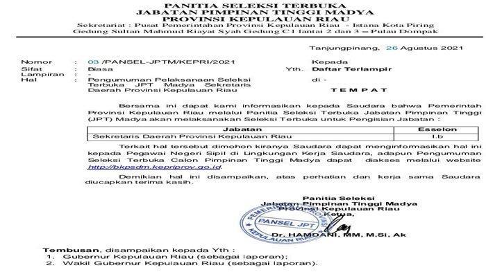 Jabatan Sekda Kepri Dilelang, Ini Syarat dan Link Pendaftarannya