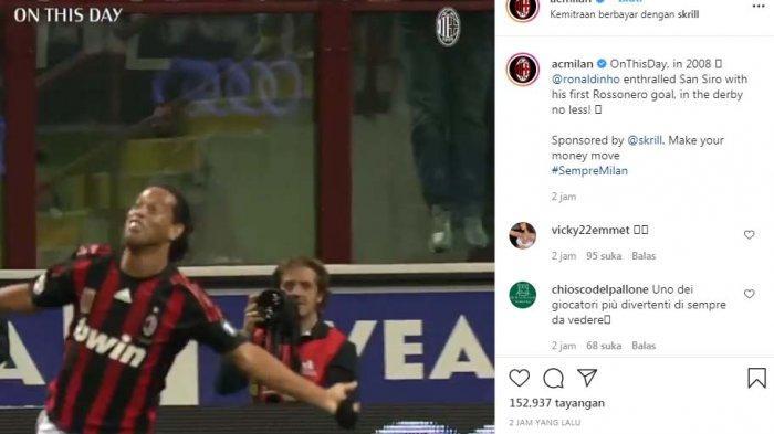 AC Milan Kenang Gol Ronaldinho ke Inter Milan, Bandingkan Sundulan Ronaldo bagi Juventus