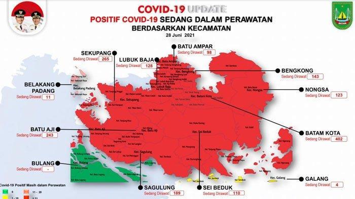 Peta sebaran Covid-19 Batam per 28 Juni 2021
