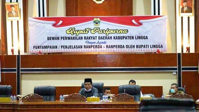 Situasi rapat paripurna DPRD di ruang rapat DPRD Lingga, Kelurahan Daik, Kecamatan Lingga, Selasa (29/6/2021)
