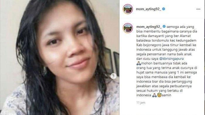 Unggahan Umi Kalsum, ibunda Ayu Ting Ting yang marah anak dan cucunya dihina TKW (IG mom_ayting92)