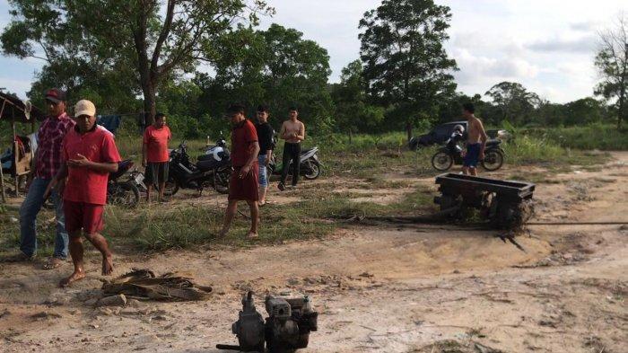 Suasana penertiban tambang pasir ilegal di Kampung Banjar Baru Rt 01/ Rw 01 Desa Gunung Kijang, Kecamatan Gunung Kijang, Bintan, Jumat (30/4/2021)